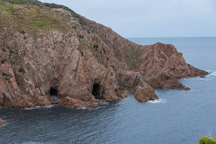 Caves and rock formations on surf side of Cape Woolamai